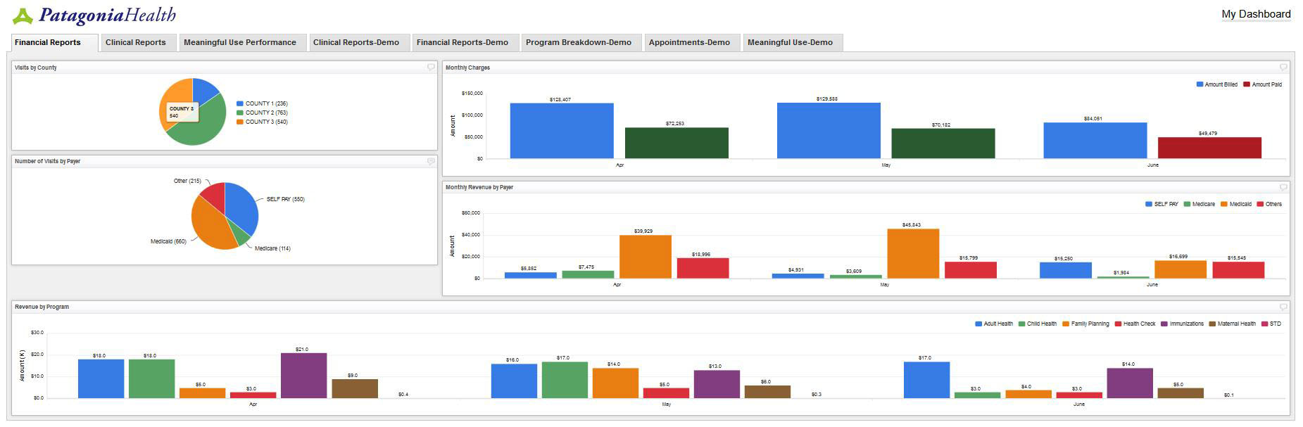 EHR Reporting Dashboard App Financial Reports View