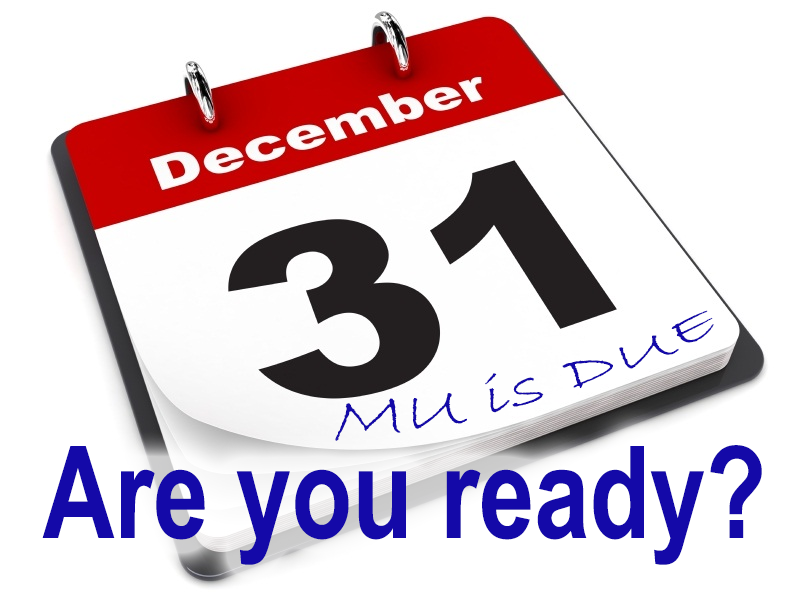 Reporting period to demonstrate meaningful use stage ends December 31st 2014 – are you ready?
