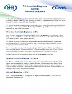 EHR Incentive Programs in 2016: Alternate Exclusions