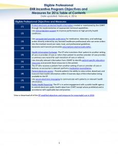 EP EHR Incentive program TOC 2016