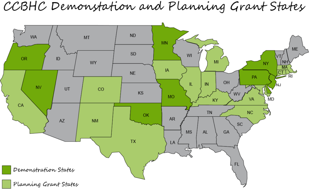 CCBHC Demonstration and Planning Grant States indicated on a map